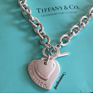 Tiffany & Co Double Tag  Heart Necklace